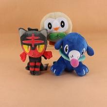 3 Styles Cute Cartoon doll Rowlet Litten Popplio Plush Soft Stuffed Animals Doll Toys For Kids
