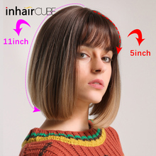 Inhair Cube Synthetic Flat Bangs Women Wig Ombre with Highlight Short Straight Hair Bob  Cosplay Hairstyle