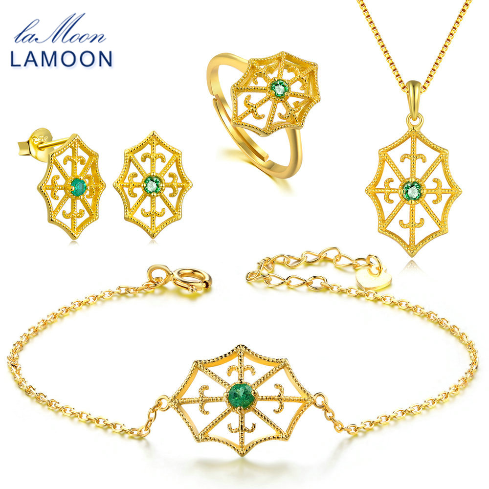 LAMOON 2018 New 925-sterling-silver Natural Green Emerald 4PCS Jewelry Sets S925 Fine Jewelry for Women Wedding Gift V044-1