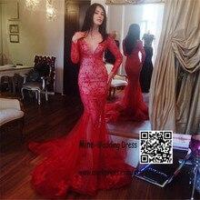 Sexy Tiefem V-ausschnitt Mit Langen Ärmeln Roten Perlen Spitze Sexy Meerjungfrau Prom Kleider Applique Spitze mit Perlen Kristalle vestidos de gala Abend