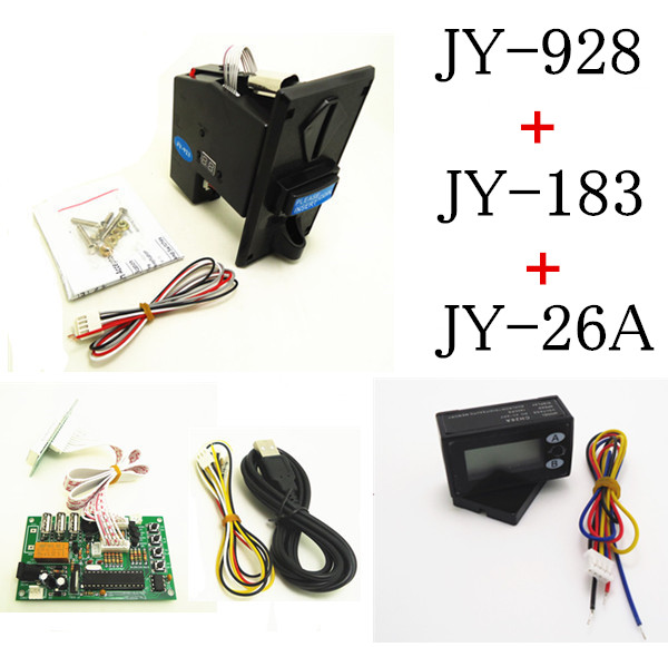 JY-928+JY-183+26A DIY coin operated time control device for USB deivces, multi coin selector with timer board and reset counter цифровая видеокамера jvc jy hm360e jy hm360e
