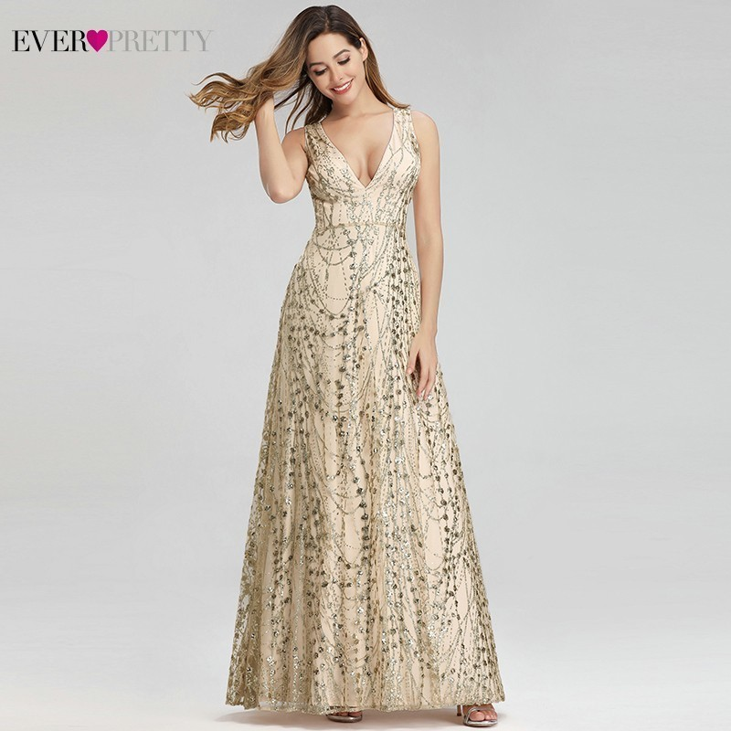 Ever Pretty Luxury Gold Prom Dresses Long A-Line V-Neck Sleeveless Sexy Sequined Formal Dresses Evening Party Gowns Gala Jurken(China)