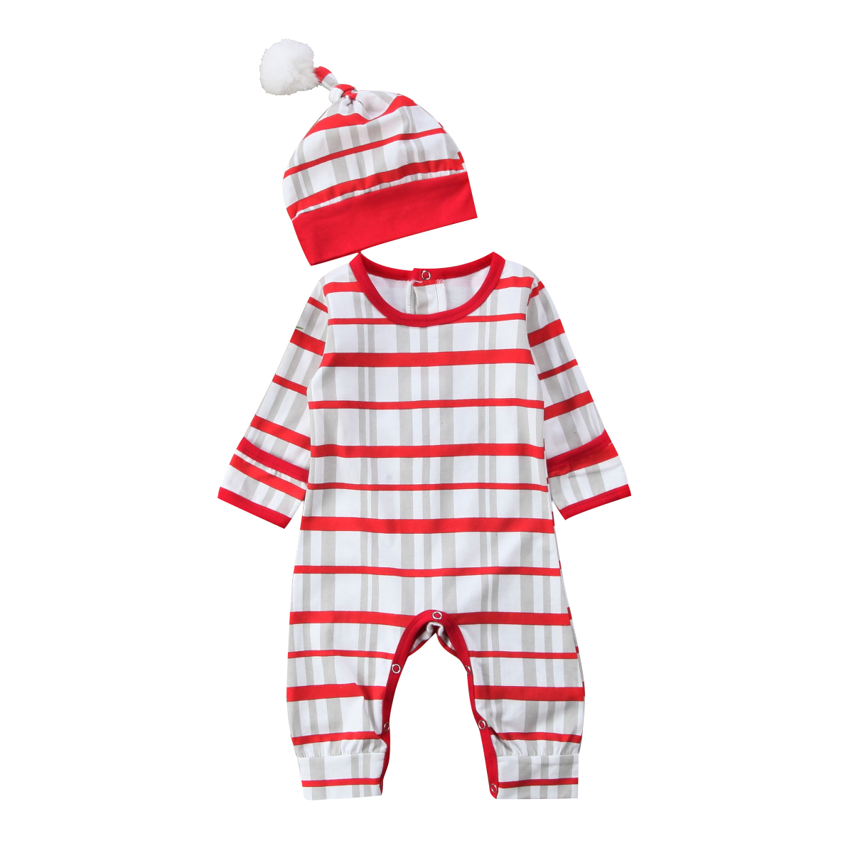 2018 New Newborn Baby Clothes Set Plaid 2PCS/Set Baby Clothing Cotton Long Sleeve Rompers Jumpersuit + Cut Hat