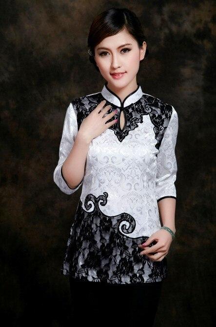 Blanco de la manera de las mujeres chinas clothing algodón blusas camisa tops fl