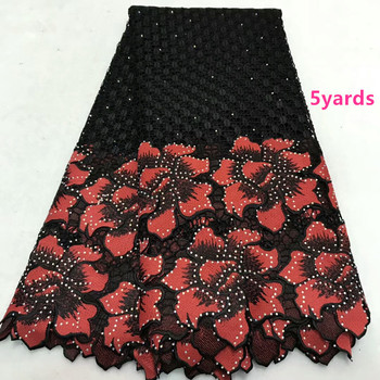 Hotselling Guipure Lace stones  African  Water Soluble Chemical Lace Embroidery Cord Lace Fabric 5yards    dfno152