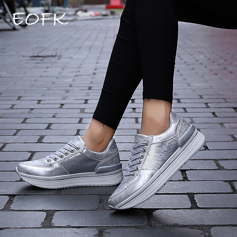 EOFK Women Sneakers Shoes Woman Flats Shoes Silver Fish Scale Design Bling Shiny Vulcanize Shoes Flats Sneakers Female