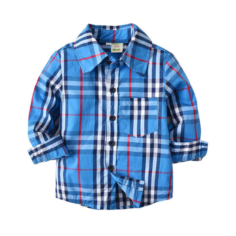 New Arrival 2018 Autumn Boys Fashion Turn Down Collar Long Sleeve Single Breasted Pockets Plaid Shirts Tees Children Blouses Top