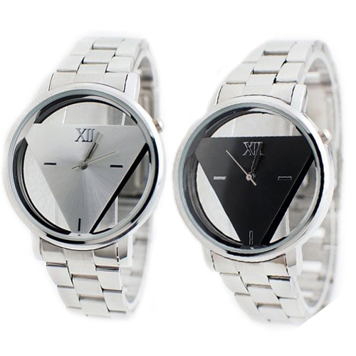 Popular Simple Design Lover Silver Stainless Steel Triangle Dial Watches Quartz Wrist Watch  5V6L C2K5W