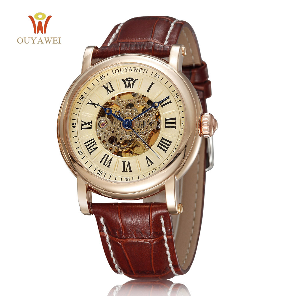 Mens Watches Top Brand Luxury Gold Watch New Roman Number Design Bezel Clock Men Automatic Skeleton Watch Montre Homme Ouyawei cadisen new design bezel golden watch mens watches top brand luxury montre homme clock men automatic skeleton watch