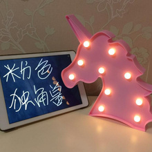 4 Colors Cute Unicorn Head Led Night Light Lamps On Wall For Home Bedside Nightlight for kids Toy Christmas Gifts
