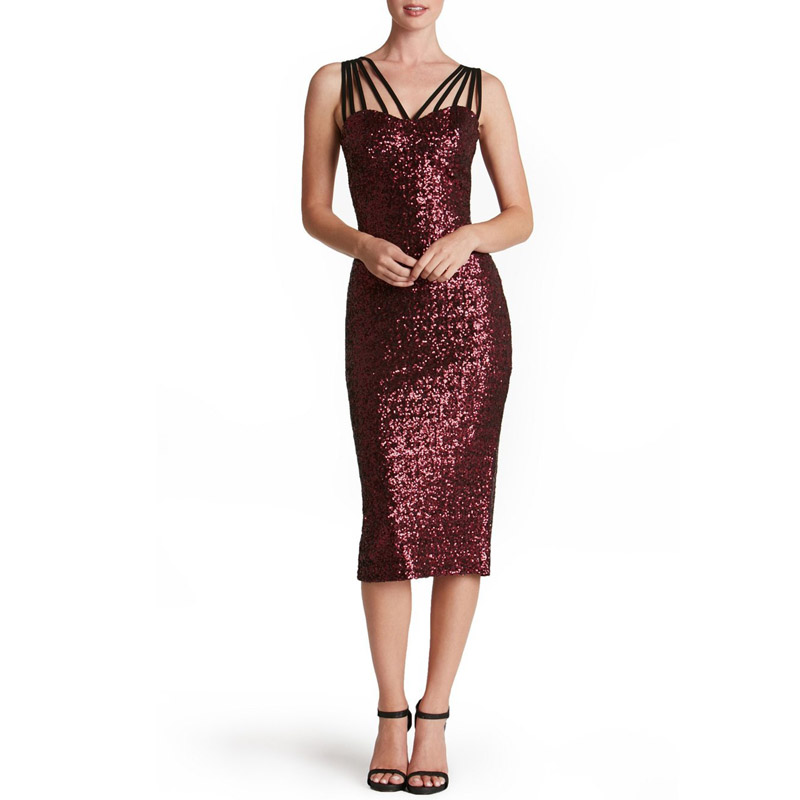 Brithday Dress for Women Elegant Formal Summer Fashion Cocktail Party Knee Length Sexy Strap Christmas Sequined Midi Dress 40