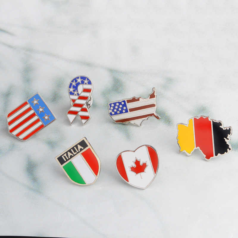 MINGQI Fashion Canada Germany USA Flags enamel pin Stars and stripes brooches Badge Women jewelry jeans cap bag accessories
