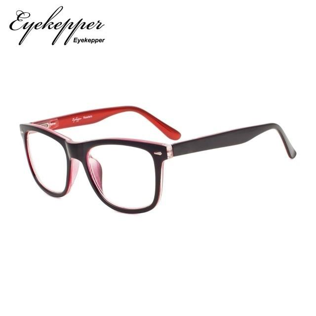 R080 Eyekepper Readers Square Large Lenses Spring-Hinges Reading Glasses & Reading Sunglasses Men Women +0.50---+4.00