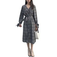 New 2017 South Korea Chic Retro Lattice Temperament Loose Long Paragraph Bandage Shirt Dress Female Autumn