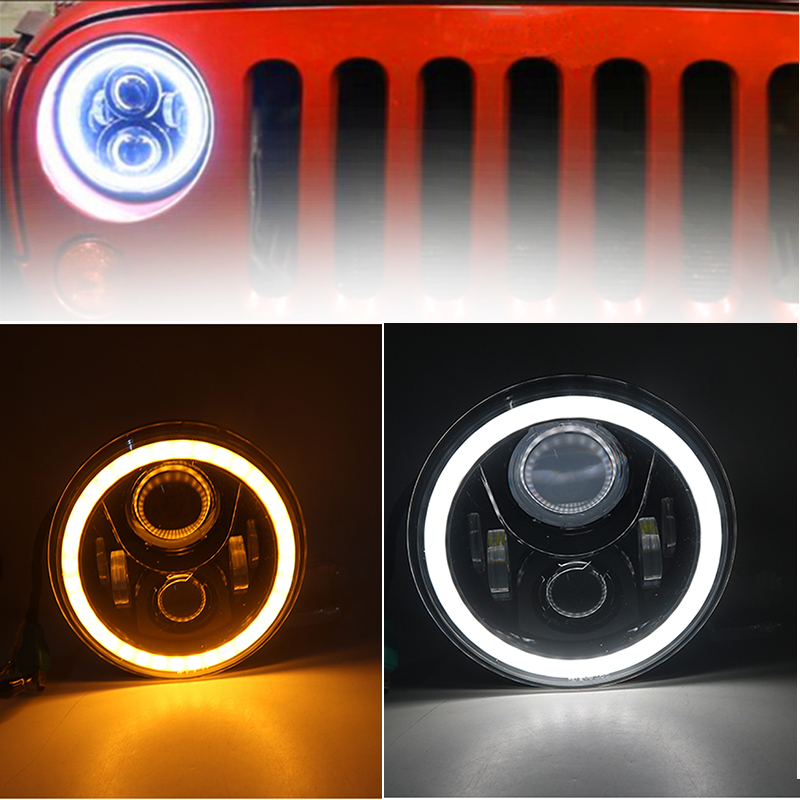 60W LED Headlight7 Inch LEDProjector Headlight Angel Eye Light For Jeep Wrangler JK TJ L ...