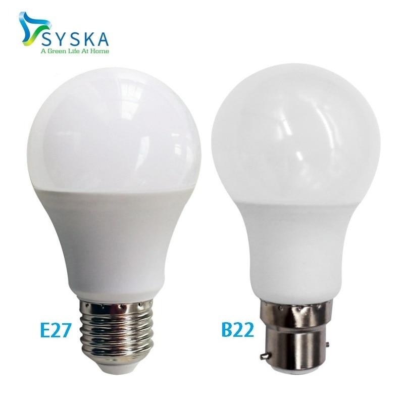 6pcs/lot Syska B22 Bayonet Lamp Real Power LED Bulb E27 3W 5W 7W 9W 12W 15W 220V 110V Ampoule Lampada Cold/Warm White |201764 e cap aluminum 16v 22 2200uf electrolytic capacitors pack for diy project white 9 x 10 pcs