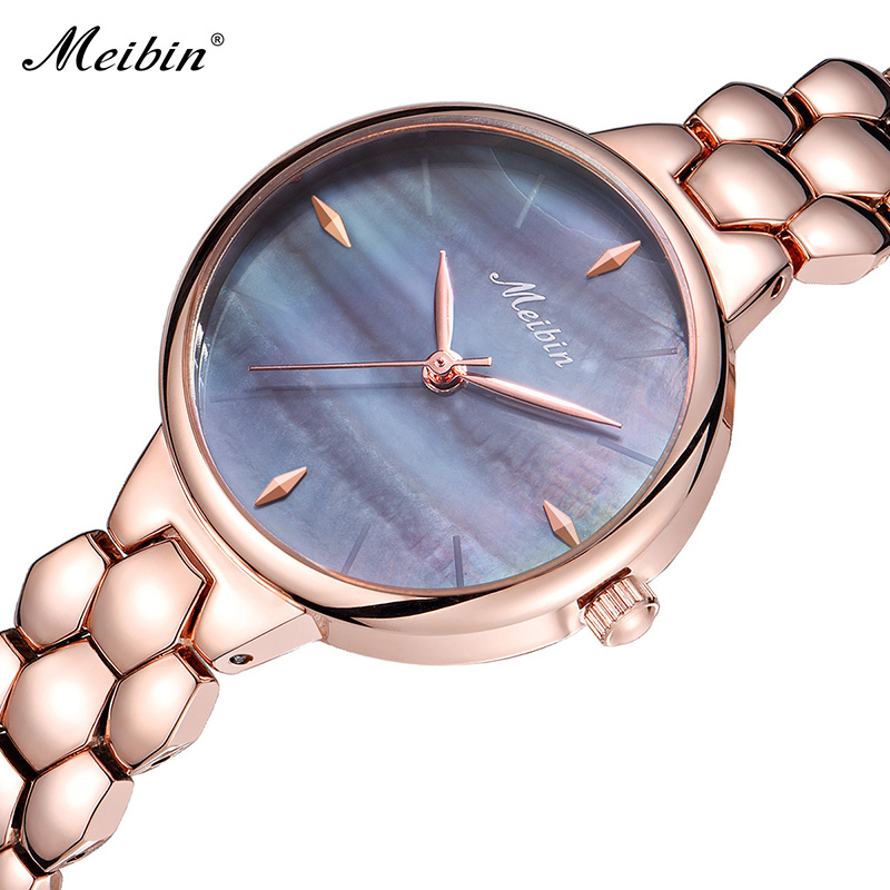 Luxury Rose Gold Steel Watches Top Fashion Brand MEIBIN Ladies Wristwatch Classic Women Dress Watch 2018 hot Female Clock tshing ray fashion women rose gold mirror cat eye sunglasses ladies twin beams brand designer cateye sun glasses for female male