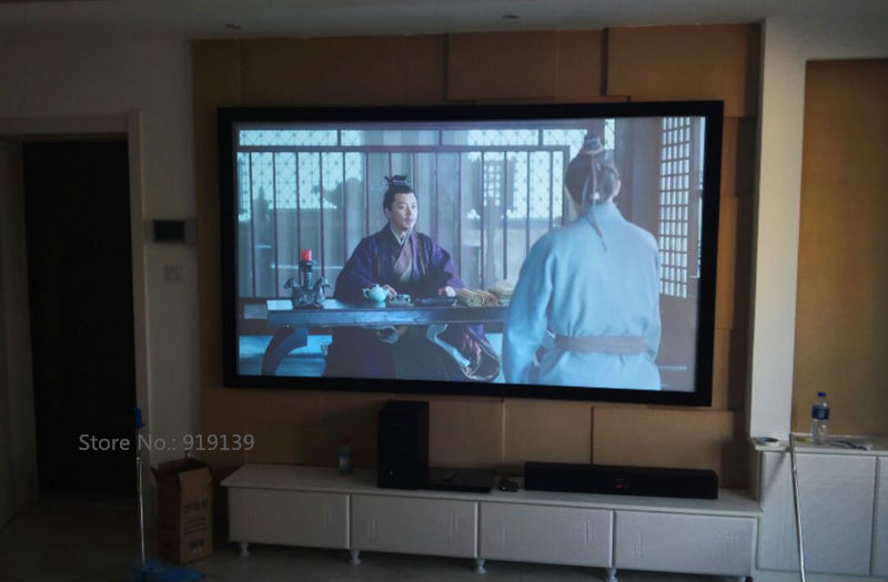 US $359 0 |110Inch Perfect Size High Quality Curved Fixed Projection Screen  16:9 3D Projector Screens Fabric DIY Mount Hanging-in Projection Screens
