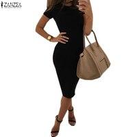 S 3XL ZANZEA Women Short Sleeve Bodycon Solid Cocktail Round Neck Cotton Midi Dress Elegant Ladies