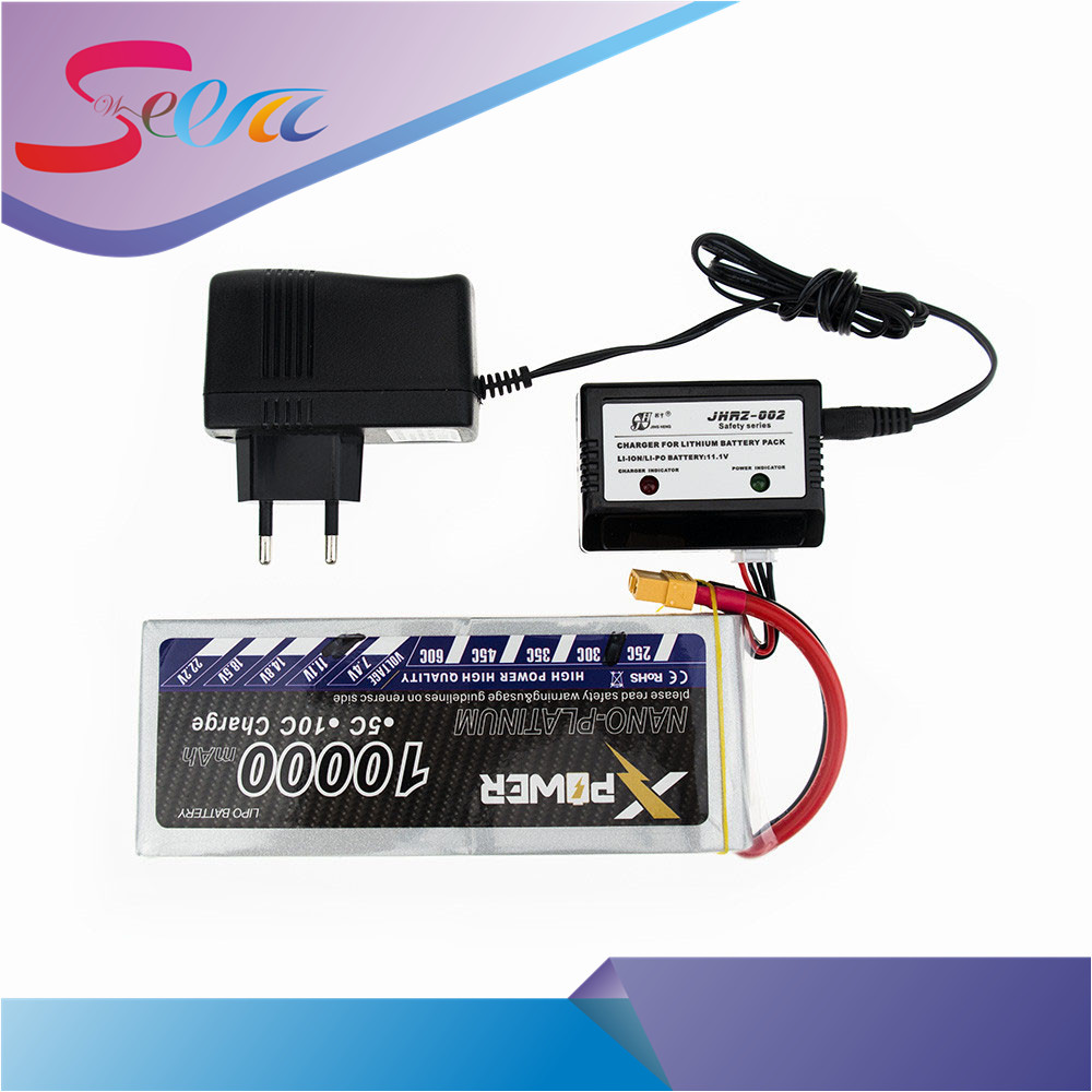 RC Drone Batteria 11.1V Lipo 10000mAh 3s 30C XT60 T EC5 XT90 With Smart Charger 3 in1 Cable Set For RC Airplane Drone Qctocopter