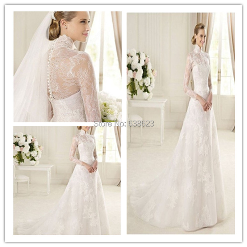 DAW 60 Free Shipping Muslim High Neck Long Sleeve Lace Wedding Delectable Patterns For Wedding Dresses