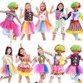 Niños niño niña payaso de circo de Parque de Atracciones payaso travieso rendimiento Cosplay disfraces carnaval decoración de la fiesta de Purim