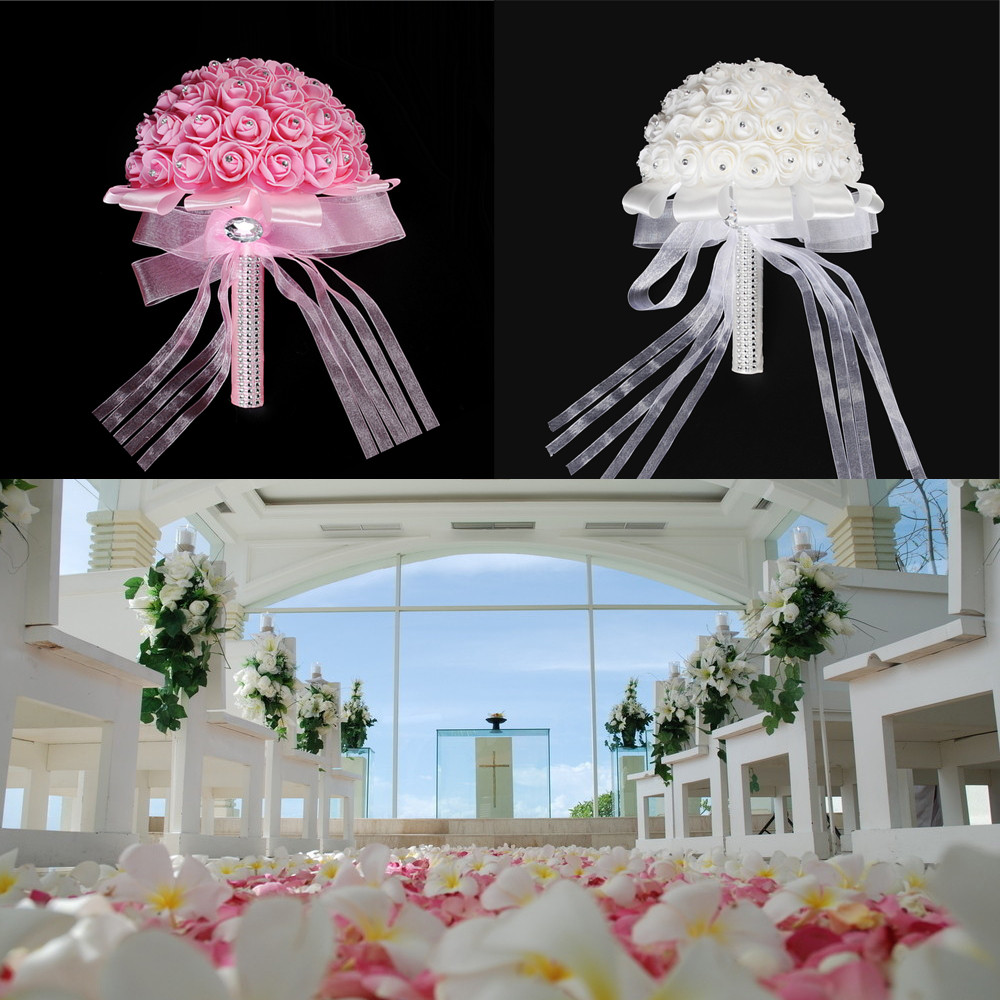 wedding home decoration handmade bridal artificial foam roses flower bouquet 9696
