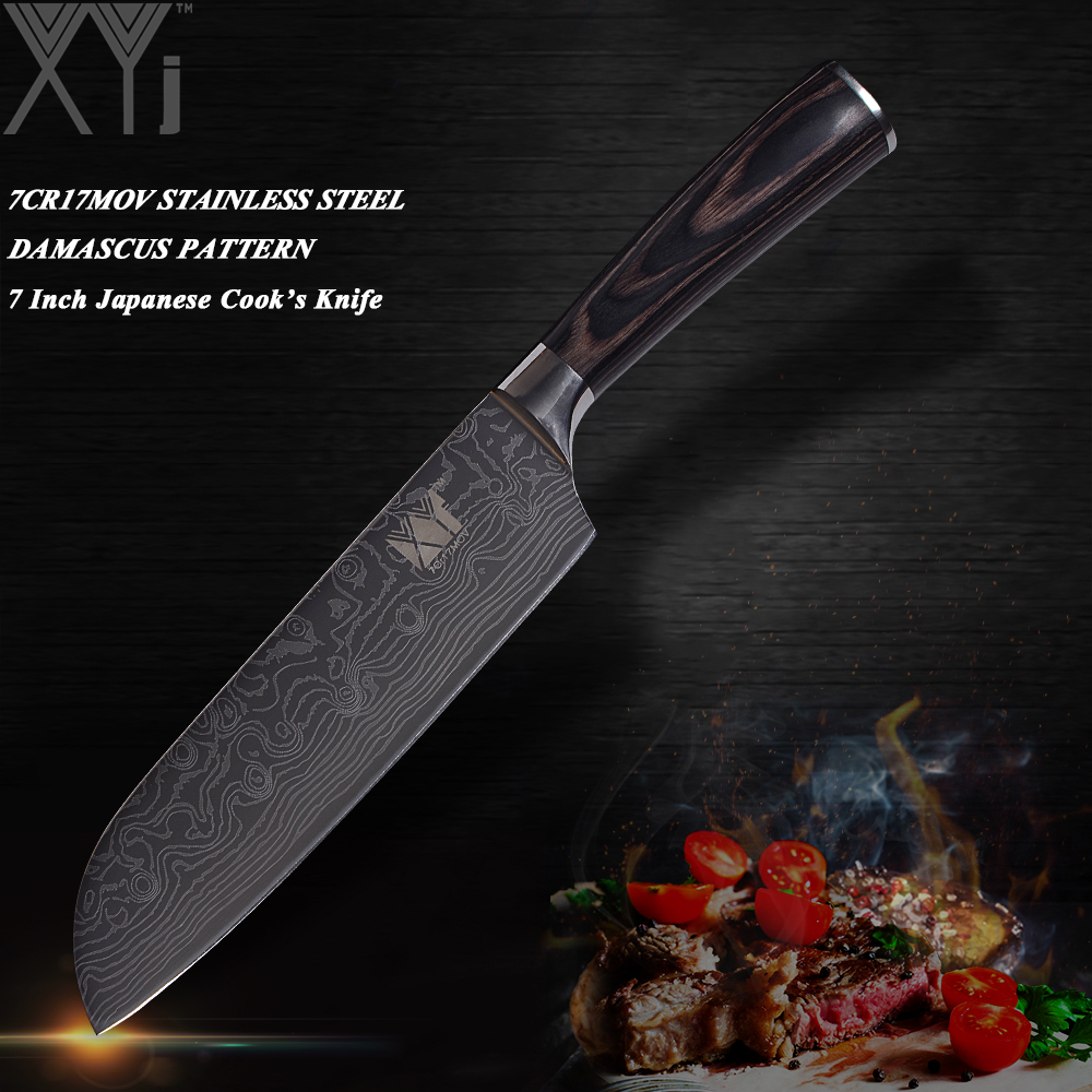 XYj Double Steel Head Damascus Vein Stainless Steel Kitchen Knife Chef Slicing Santoku Utility Paring Cooking Knife Kitchen Tool