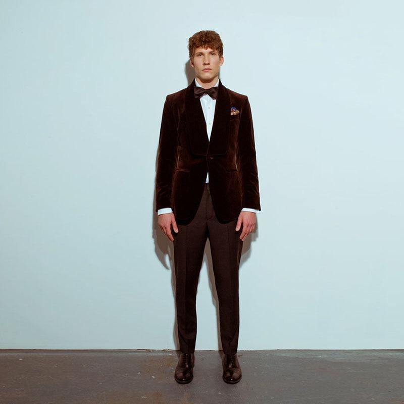 Classic Velvet Suits Men Slim Fit Tuxedo Prom Special Event Formal Clothing Wear