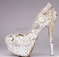 2016 De Mode de luxe strass arc ultra hauts talons chaussures femmes chaussures de mariage de perles de cristal gland chaussures de mariée plate-forme chaussures