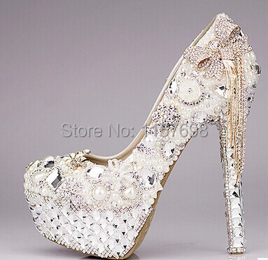 где купить  2016 Fashion luxury rhinestone bow ultra high heels shoes women's pearl wedding shoes crystal tassel bridal shoes platform shoes  по лучшей цене