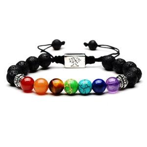 Image 4 - Bracelet Chakra 7 pour hommes et femmes, lave noire, guérison, équilibre, prière, Reiki, pierres naturelles, brin de Yoga, corde ajustable