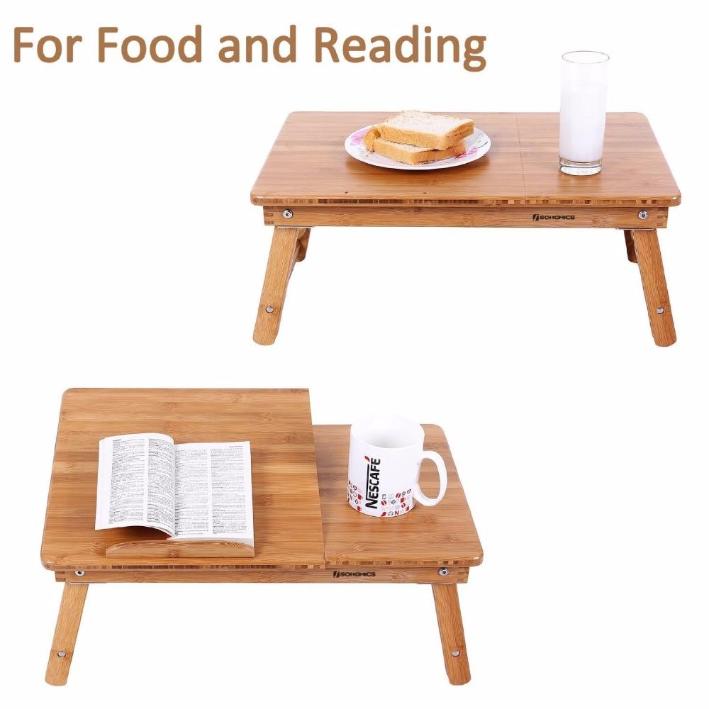 Aingoo 100% Bamboo Laptop Standing Desk Foldable Breakfast Serving ...