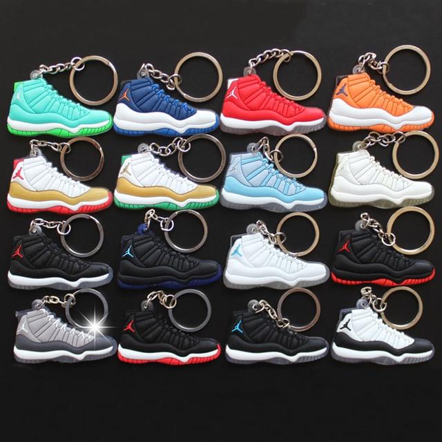 fbcbd8d3cc77dd 18Pcs Lot Figure Toys Mini Jordan 11 Key Chain Pendant For Men Woman  Silicone Sneaker Model Pendant Gifts AJ 11