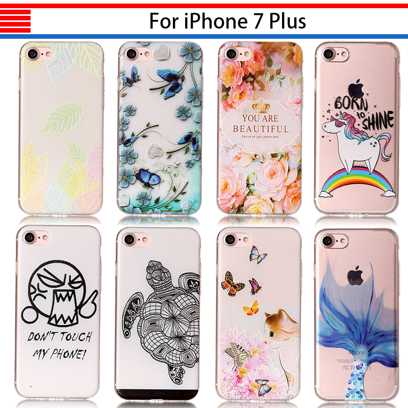 JURCHEN Soft Phone Case For iPhone 7 Case Transparent Silicone Coque For iPone 7 Cover Case For iPhone 7 Plus Back Shell Cartoon