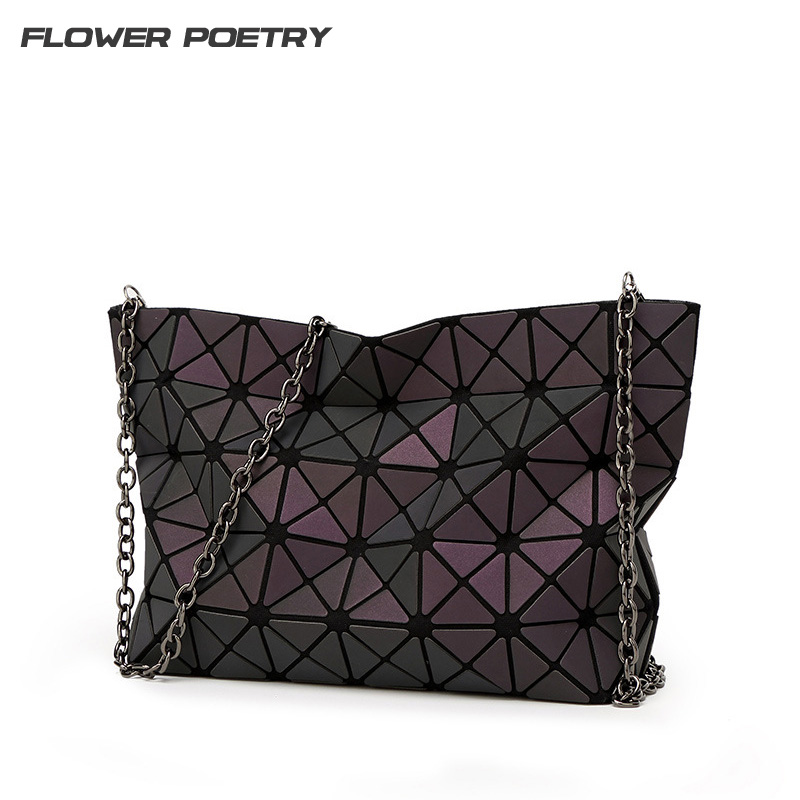 Famous Brand Women Shoulder Bag Geometry Women Mini Chain Holography Crossbody Bags Women Plain Folding Handbags Messenger Bag люстра crystal lux fontain sp8