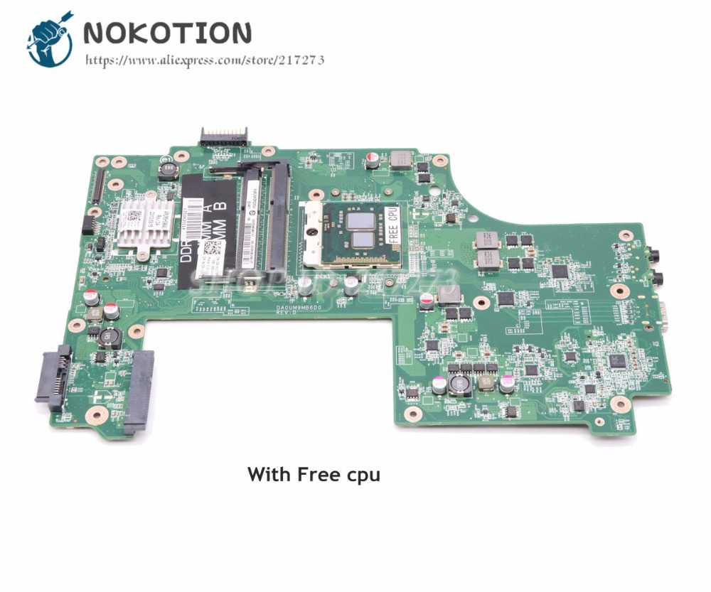 NOKOTION Laptop Motherboard For Dell inspiron N7010 MAIN BOARD HM57 UMA DDR3 0GKH2C CN-0GKH2C GKH2C DA0UM9MB6D0 sheli laptop motherboard mainboard for dell inspiron n7010 cn 0gkh2c da0um9mb6d0 integrated graphics card 100% tested fully