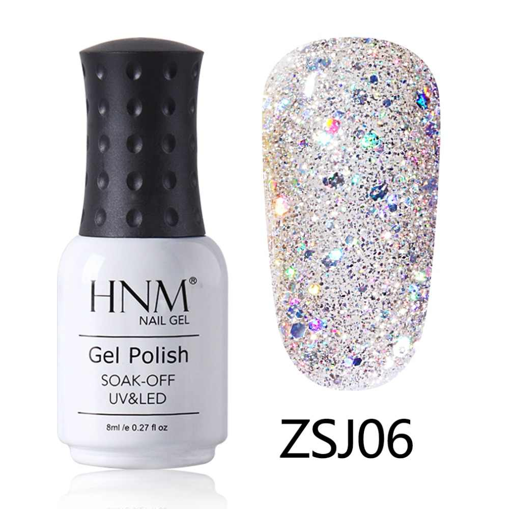 HNM 8 ml LED โคมไฟเล็บเพชร Glitter Hybrid เคลือบเงากึ่งถาวรเล็บเงา Lucky Lacquer ปั๊มเคลือบ