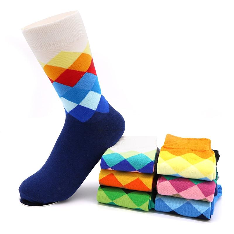 Mens Socks Plaid Calcetines Gradient Color Cotton Blends Socks for Men Casual Long Hip Hop Socks Men Chaussette Homme Meia