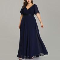 Plus Size Women Dress Evening Party V neck Summer Dress Vestidos Chiffon Elegant Maxi Woman Mujer Short Sleeve Female Long Dress