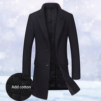 GEJIAN Autumn Winter Style Men Boutique Wollen Coat Business Vasual Single Breasted Solid Slim Men Overcoat Casaco Masculino