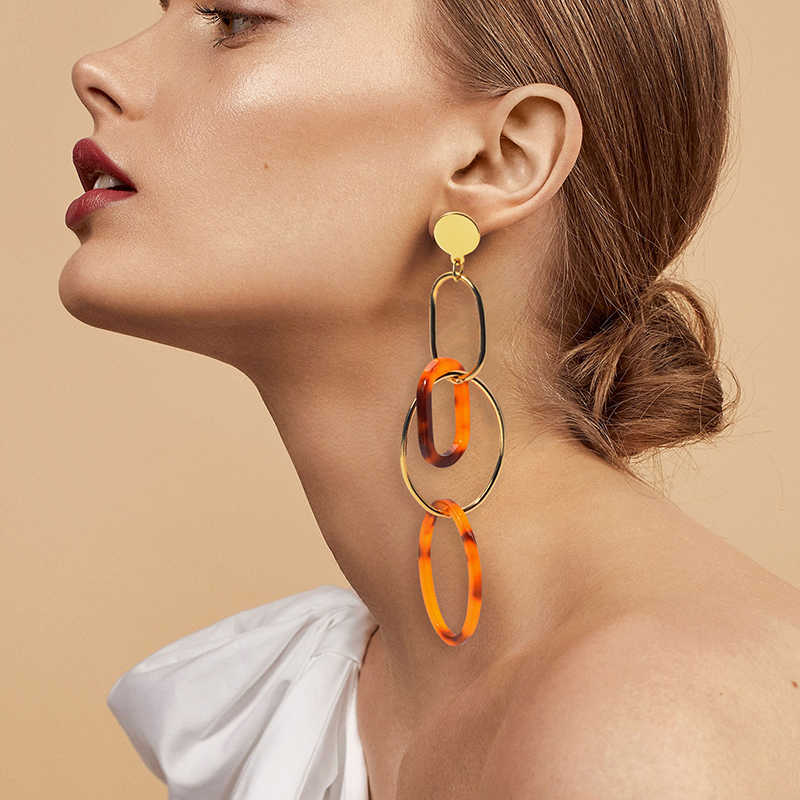 New Acrylic Rround Geometry Drop Earring Oval Metal Vintage Resin Za Trendy Long Chain Dangle Earring 2019 Statement Jewelry