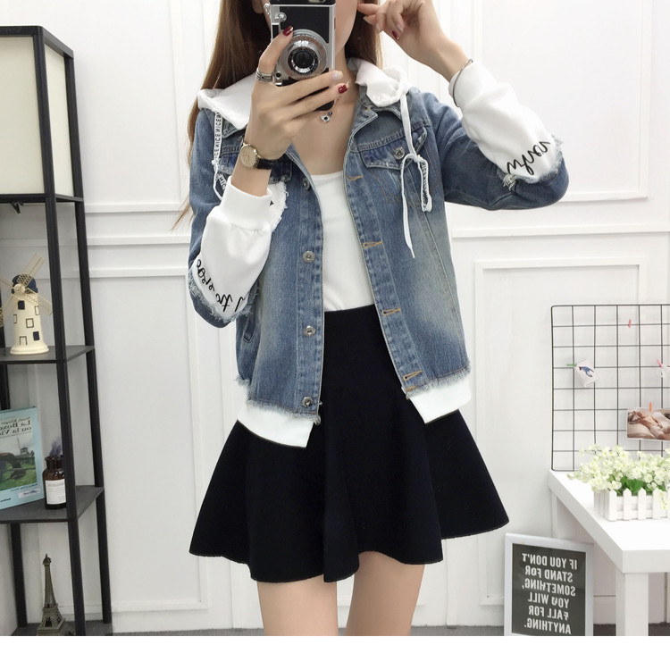 New Autumn Casual Hooded Short Denim Jacket Women Fashion Splicing Patch Coat Plus size Pockets Loose Jackets Jeans Coat Female 46