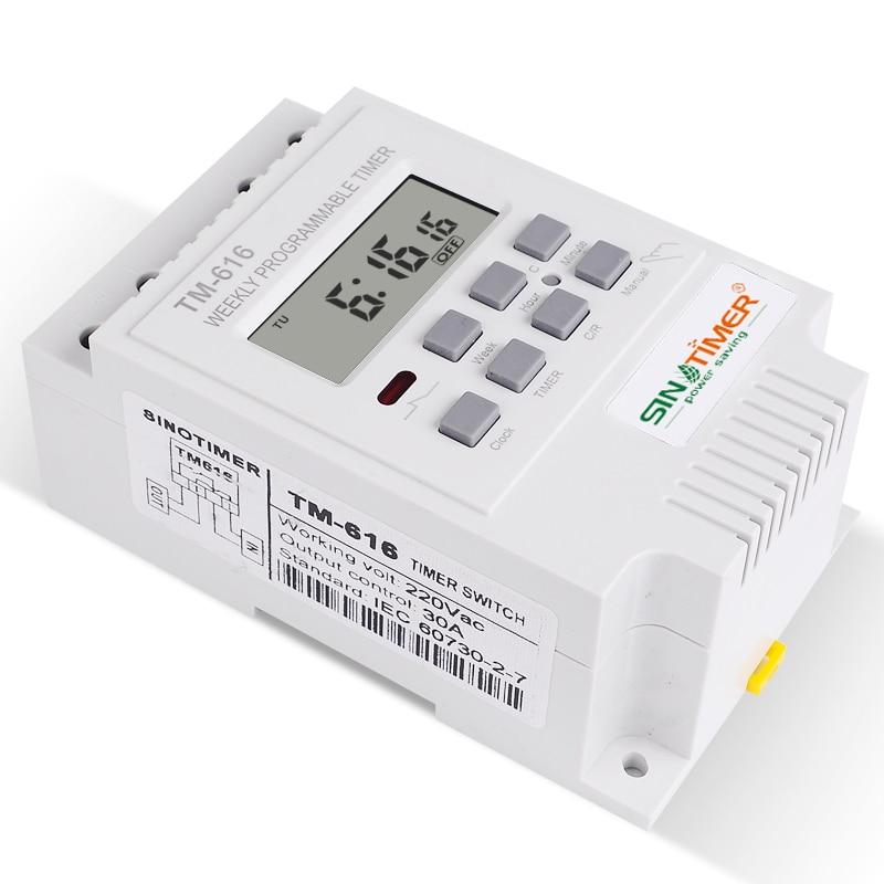Blanco SINOTIMER 220V TM612 Interruptor Temporizador programable Digital de Dos Canales 7 d/ías 24 Horas