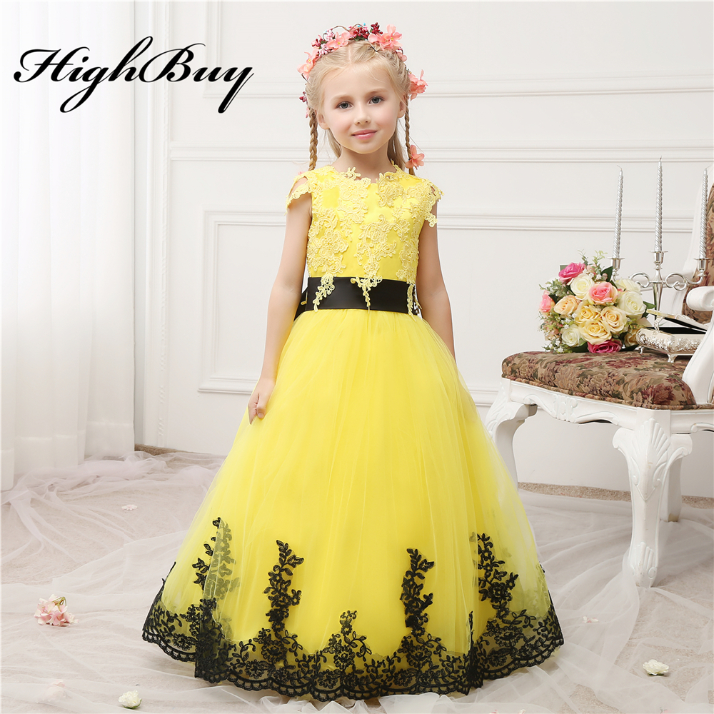 Highbuy 2017 Bright Yellow New Arrival Lace Appliques Black Sash Bow
