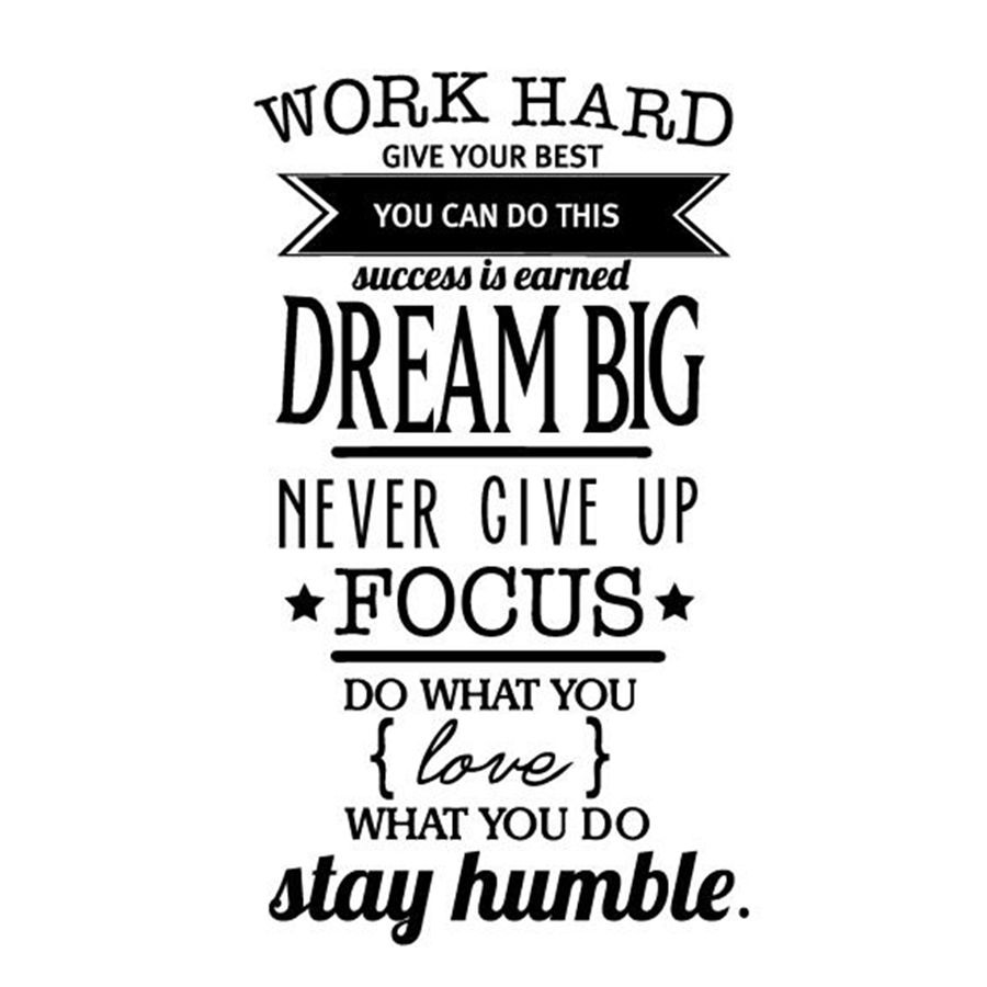 Motivational Quote For Work Office Motivational Quotes Wall Sticker Never Give Up Work Hard