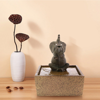 Sitting Elephant Tabletop Water Fountain Decorative Sculpture Kid Room Desktop Decor Indoor Meditation Air Freshener Waterfall