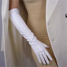 50cm Long Section Patent Leather Gloves Emulation Sheepskin PU Bright White Womens WPU38-50