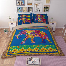 2017new high quality 3d bohemia elephant bedding set full queen king size duvet cover pillowcase adults