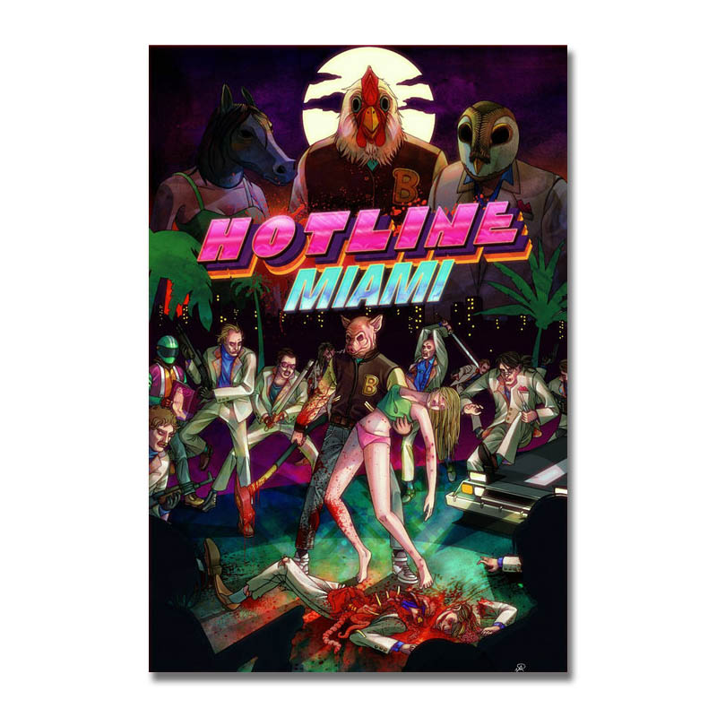 Художественный, Шелковый или холщовый постер с принтом горячей линии, Майами, популярная игра, 13x20 24x36 дюймов для украшения комнаты 003|Рисование и каллиграфия| | АлиЭкспресс